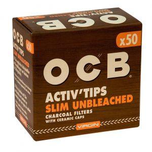 filtri OCB Activ'Tips Slim Unbleached (50 kos)
